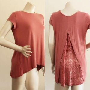 Dusty Rose Lace Back Asymmetrical Tee Shirt Top